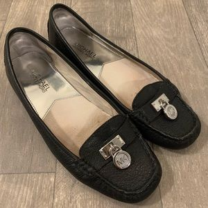 Michael Kors Black Pebbled Leather Hamilton Flat 7